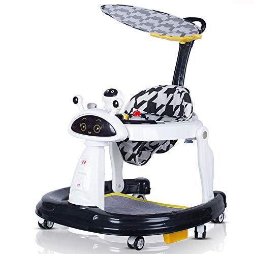YZT QUEEN Girello, Girello Robot Pieghevole Multifunzione, Girello Regolabile in Altezza, orientabile, può ospitare 6-18 Mesi Bambino, Portata Massima 20 kg,Nero