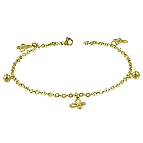 Bungsa® vlinder bedelarmband goud roestvrij staal (karabijnsluiting bedelketting armband dames armband herenarmband bracelet enkelbandje anklet chirurgisch staal sieraad roestvrij stalen armband)