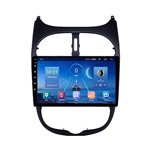 ZHFF Car Stereo Android 10.0 Radio Compatible Peugeot 206 1998-2012 Navegación GPS Unidad Principal de 9 Pulgadas Pantalla táctil HD Reproductor Multimedia MP5 Video con WiFi DSP SWC Mirrorlink