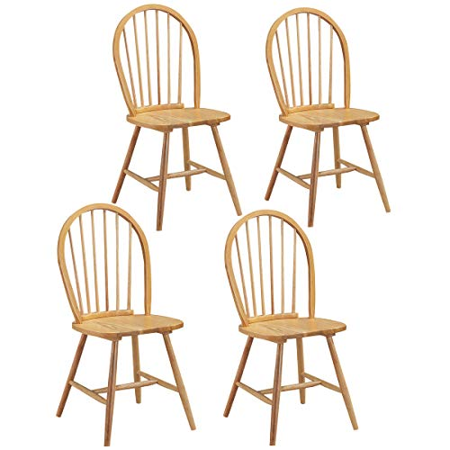 Giantex Wood Dining Chairs Set of 4, Windsor Chairs with Solid Wood Legs, High Spindle Back, H-Shaped Crossbars, Vintage Country Farmhouse Style Wooden Side Chairs (4)