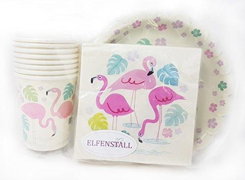 Elfenstall Party Set Kindergeburtstag | Kinder Partygeschirr | Teller Becher Servietten Tischdeko | Mädchen und Jungen | Einweg-Geschirr für 8 Personen (Flamingo, 3er Set)
