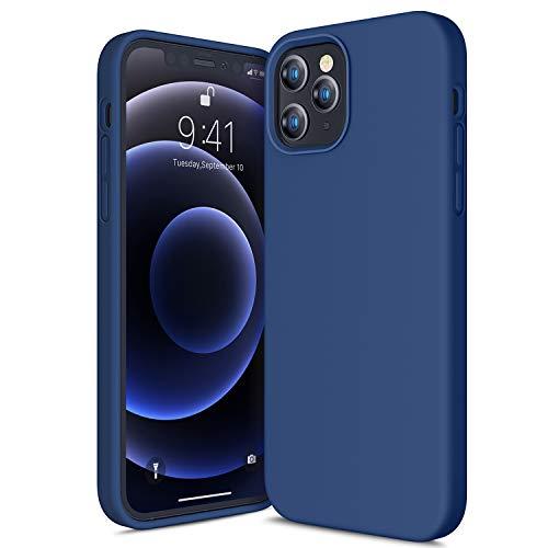 CANSHN Custodia in Silicone Liquido per iPhone 12 e 12 PRO, [Protezione Full Body] Sottile in Gomma Gel Morbida Setoso Cover per da 6,1'' 2020 5G - Deep Navy