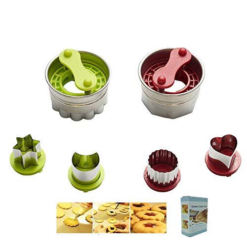 KeepingcooX Torte remplie de Confiture   De Coupe-Biscuits Classique Linzer - Coeur, étoile, Fleur, Lune   Acier Inoxydable antiadhésif, 8 Formes