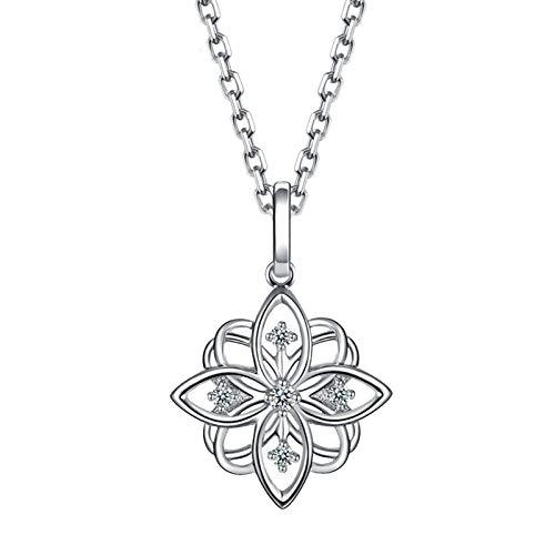 Daesar Collar Oro Blanco 18K Mujer,Colgantes de Mujer en Plata Flor Hueca Diamante Blanco 0.04ct