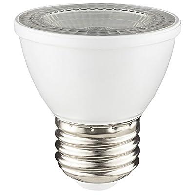 Sunlite 80143-SU LED PAR16 Short Neck Light Bulb 7 Watts (50W Equivalent), 500 Lumens, Mediuem (E26) Base, Dimmable, 1 Pack, 50K - Super White