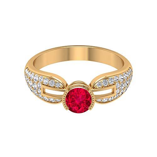 Anillo de rubí solitario 0,65 quilates, anillo de diamante HI-SI, 1/2 quilates, anillo vintage de oro (rubí redondo de 5 mm), 14K Oro amarillo, Size:EU 48