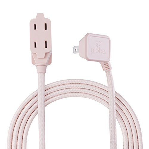 Designer Series 9-ft Fabric Extension Cord, 3 Polarized Outlets, Right Angle Plug, 125 Volts, Pale Pink,22814