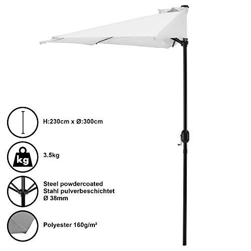 [casa.pro] Parasol halfrond voor balkons of terrassen - wit