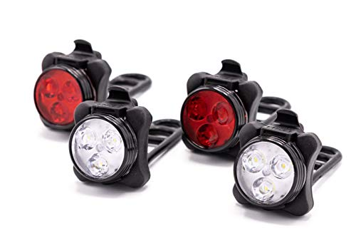 HOOOT 2 Sets USB Rechargeable LED Bike Light, 2 Super Bright Front Bicycle Headlight 2 Back Rear Taillight IPX4 Water Resistant 4 Light Mode Options; 6 straps 4 USB Cables  Get Ultimate Safety & Style