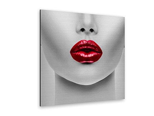 WallartXXL Rote Lippen Alu-Dibond Bild Butlerfinish® ALB00010 Quadratisch 60 x 60cm gebürstetes Aluminium-Bild Wandbild