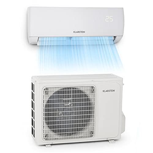 Klarstein Windwaker - Split-Klimaanlage, selbstreinigend, Fresh Air- und Golden Fin Technology, Long Distance Air Flow, Smart Light Technology, 800/750W, 600 m³/h, 9.000 BTU/2,7 kW, weiß
