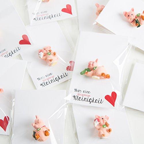 5 kleine gastgeschenken verpakt schattige geluksvarkentjes 2,5 cm klaverblad hoefijzer hart rood minicadeau gasten oudejaarer verjaardag tafeldecoratie geluk symbool bruiloft tafeldecoratie