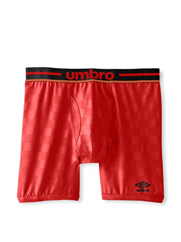 Umbro Boxer Stretch à Carreaux pour Homme, Vermillon, Rouge, XL