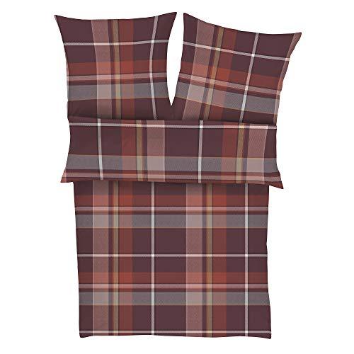 s.Oliver 6276 Bettwäsche 135x200 cm - Biberbettwäsche dunkelrot, 100% Baumwolle, 2 teilig mit Reißverschluss