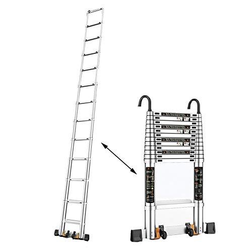 Teleskopleiter/Ausziehbare Leitern Teleskopleiter-Mehrzweckverlängerungsleiter Mit Haken-Last 330lbs, Leichte Isolierungs-Rollleiter For Büro-Hauptdachboden (Size : 5.3m/17.4ft)