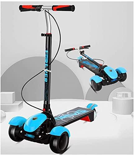 RSTJ Scooter para niños Altura Ajustable Plegable Magro para dirigir para niños niños y niñas de 3 a 10 años (Color : Blue)