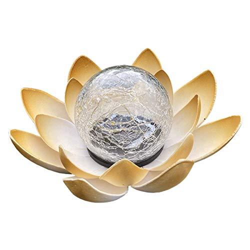Farolillo solar de loto de jardín, para decoración de jardín, al aire libre, efectos de luz maravillosos gracias a su aspecto de cristal roto (amarillo cálido, 1 unidad)