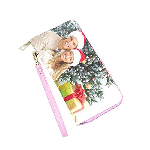 Personalisierte Damenbrieftasche Customized Photo Clutch Eleganter Reißverschluss Geldbörse Leder Brieftasche Jubiläum für Frauen(Rosa einseitig)