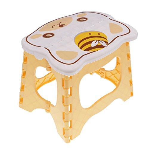 Baoblaze Cartoon Kleine Hocker Flatbar Klapphocker Tritthocker Fußbank Kinderhoker Sitzhocker Klappstuhl Kinderzimmer Dekoration - Gelb