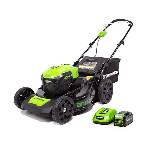 Greenworks 40V 21inch Cordless Brushless Lawn Mower, 5Ah Battery & Charger Included, LMF402