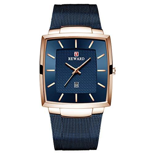 Allskid Hombres Cuadrado Relojes Clásico Minimalista Marcar Acero Inoxidable Malla Correa Cuarzo Business Relojes de Pulsera (48 * 37mm, A-Azul)