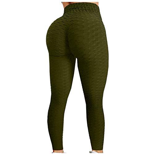 BaoDan Ladies Elegant Leisure Fitness, Nahtlose Feuchtigkeitstransport, Sportmode High Waist Fitness Yoga Hosen Leggings Armeegrün S
