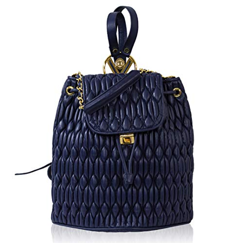 Valentino Orlandi Women's Large Handbag Backpack Italian Designer Purse Midnight Blue Quilted Genuine Leather Tote Top Handle Satchel Slng Bucket with Drawstring