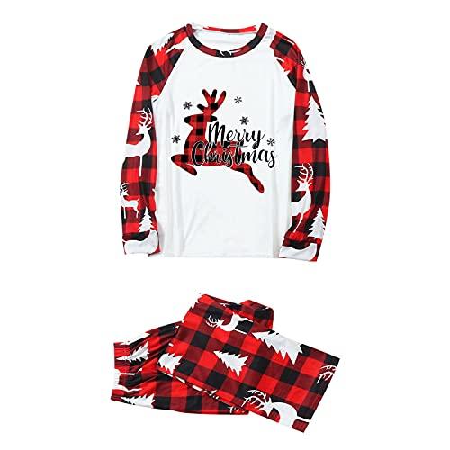 Hengyouhui Weihnachten Schlafanzug Familien Pyjama Set Nachtwäsche Nachthemd Hausanzug Lange Ärmel Bluse + Plaid Lange Hosen Pyjama Set