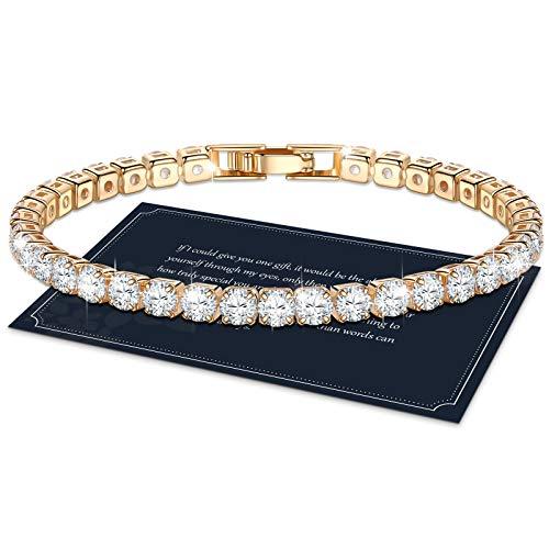 J.Fée Armband Damen Gold, Frauen Armband, Glitzer Tennis Armband Funkelndes Kristall Armband Damen 4mm 5A Zirkonia Diamant Armband Geschenk mit Box für Damen Mädchen Mutter Tochter Freund, 17cm