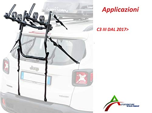 Portabicicletas montado y listo para usar (3 bicicletas) para puerta o maletero trasero para coche específico para C3 III 2017