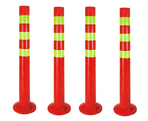 4 x Sperrpfosten flexibel | 72,5cm Absperrpfosten reflektierend | Absperrung mit Standfuß [Befestigung mit Schrauben] | Absperrständer selbstaufrichtend | Park Pfosten Farbe Rot | Leitpfosten | Poller
