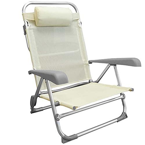 Bakaji Tumbona plegable portátil con respaldo reclinable con estructura tubular de aluminio, revestimiento de tela textileno, reposacabezas acolchado para playa, camping, color beige