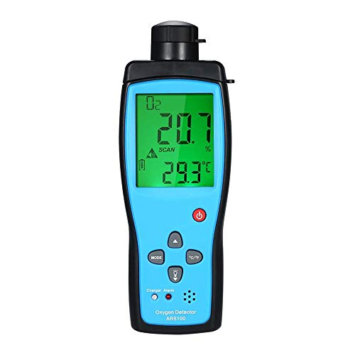 Cheffort Oxygen Gas Meter, Digital Portable Automotive O2 Gas Tester, Digital LCD Display Alarm O2 Concentration Measurement Tester Device for Car, Climbing, Tunnel, Laboratory and Industry