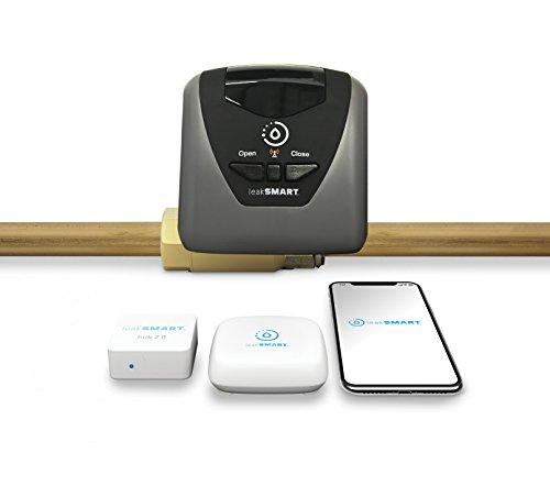 "Water leak detection starter kit by leaksmart includes 3/4"" automatic water shutoff valve, water leak sensor, and smart hub"