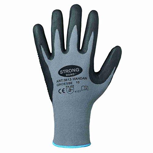 Handschuh HANDAN genoppt nahtlos EN388 flexibel griffig Arbeitshandschuh Noppen (11, Einzeln (1 Paar))