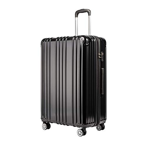 COOLIFE Expandable Suitcase(Only L Size Expandable) Hardshell Luggage Lightweight Durable PC+ABS Material with TSA Lock and 4 Spinner Wheels (Black, L(76cm 93L))
