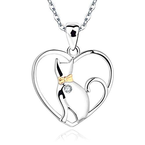 JO WISDOM Damen Halskette Katze Silber 925, Kette Anhänger Herz mit AAA Zirkonia (Gelbgoldfarbe)