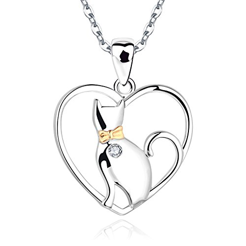 JO WISDOM Collier Pendentif Chat au Coeur Argent 925/1000 AAA Zirconium Femme