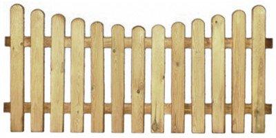 StaketenZaun 'Premium' 180x85/71 cm - unten – kdi / V2A Edelstahl Schrauben verschraubt - aus getrocknetem Holz glatt gehobelt – nach unten gebogene Ausführung -