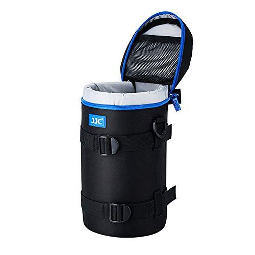 JJC Deluxe Objektiv Tasche mit 1 x Umhängeband, Wasserabweisend, Schwarz, passt Objektiv Durchmesser und Höhe unter 113 x 240mm (4.4 x 9.4)
