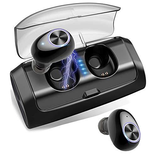 Awopee audífonos Bluetooth Inalámbricos,Mini Auriculares Inalámbrico Deportivos in Ear Bluetooth 5.0 Manos Libres con Micrófono con 2600mAh Caja de Carga Inteligente para iPhone y Otros Smart Phones-Negro