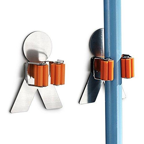 Arimaya 2 Stück Besen Halter Gerätehalter Wandhalter aus Edelstahl,Bad Küche Organizer Rack mit 3M Selbstklebend (2 Stück Selbstklebend)