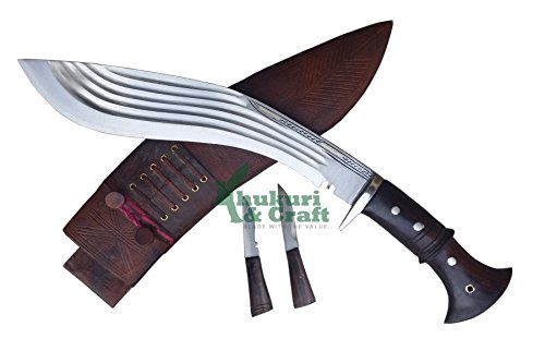 "Khukuri & Craft 12"" Blade 5 fullers panawal Full Tang Best kukri ganjawal Sheath Working,Military Knives,Handmade, Nepal"