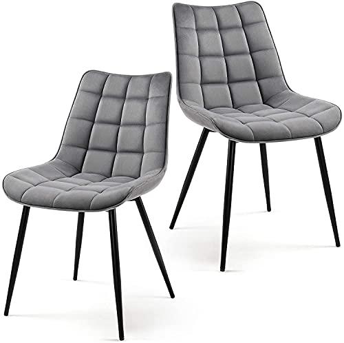 VEESYV Juego de 2 sillas de cocina de estilo moderno con cojín suave y patas de metal para cocina, salón, dormitorio