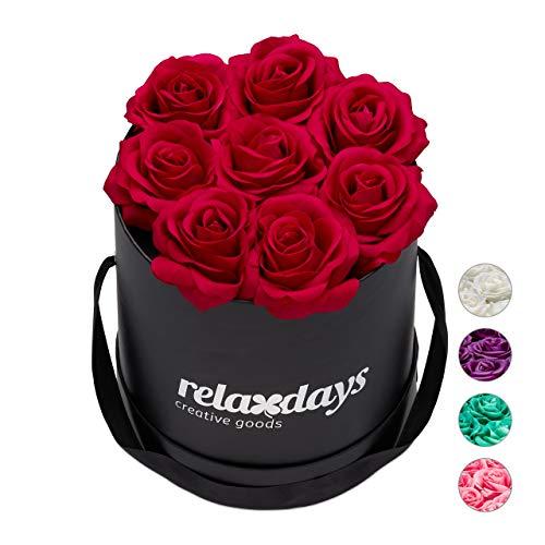 Relaxdays Rosenbox rund, 8 Rosen, stabile Flowerbox schwarz, 10 Jahre haltbar, Geschenkidee, dekorative Blumenbox, rot