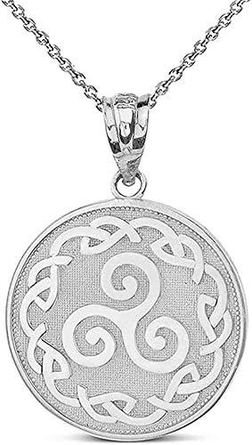 NC96 Solid 14k White Gold Triskele Triskelion Triple Spiral Celtic Knot Disc Pendant Necklace