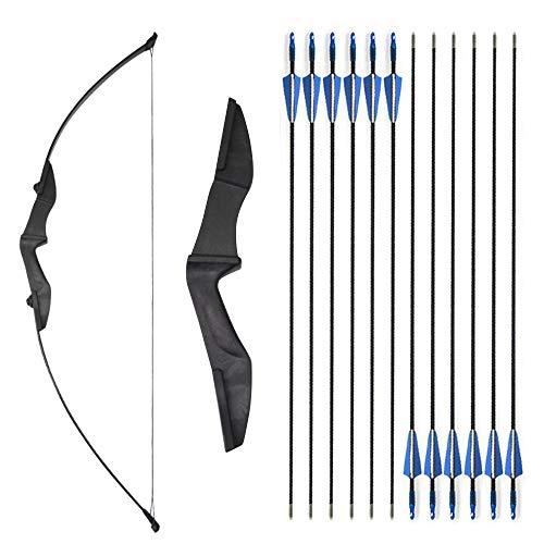 SHARROW Bogenschießen Takedown Recurve Bogen und Pfeil Set 30-40lbs Straight Bogen mit 12er Fiberglaspfeilen für Kinder Erwachsene Anfänger (Schwarz, 35lbs)