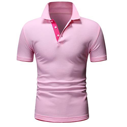 ZHANSANFM Poloshirt Herren Stehkragen Kurzarm Polohemd Polo Shirts Button Down Basic Casual Tops mit Polokragen T-Shirt Freizeit Fitness Muskelshirt Modern Regular Fit Elegant (2XL, Rosa)