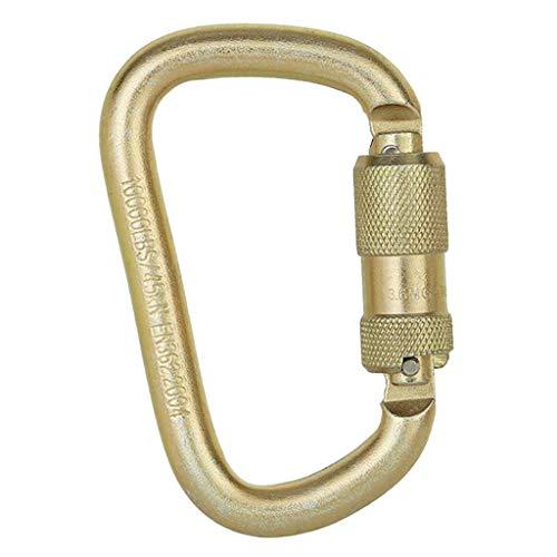 Unbranded 45KN Carabiner Clip Hook Steel D-Ring Screw Lock Rock Climbing Silver - Doré