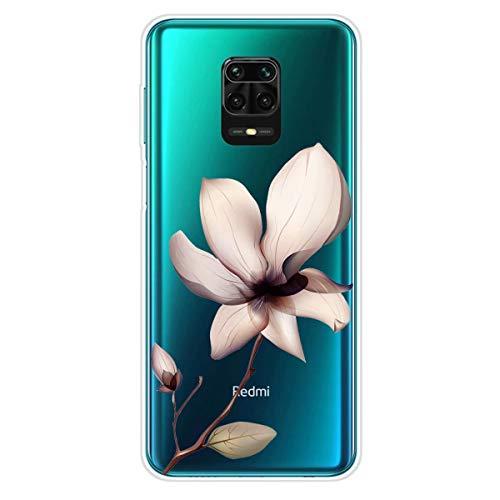 Miagon Transparent Hülle für Xiaomi Redmi Note 9 Pro,Lotus Blume Muster Kreativ Süße Durchsichtig Klar Soft Ultra Dünn Silikon Case Cover Schutzabdeckung